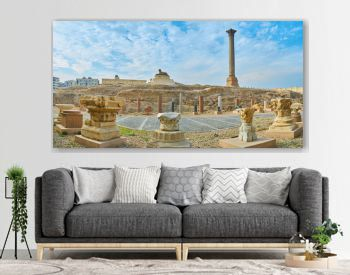 Panorama with Pompey's Pillar and sphinx, Alexandria, Egypt