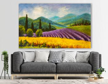 Oil painting Italian summer countryside. Lavender purple field. French Tuscany. Field of yellow rye. Rural houses