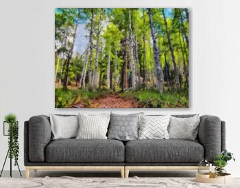 Hand drawing watercolor art on canvas. Artistic big print. Original modern painting. Acrylic dry brush background. Beautiful summer landscape. Travel view. Green forest tree. Wild nature