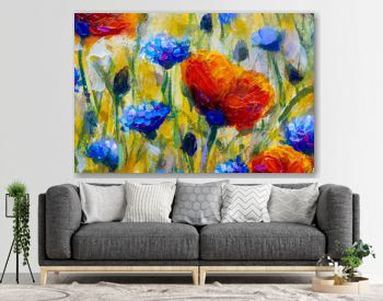 Flowers Hand drawn oil painting. Abstract closeup red flower art background. Blue flowers Oil painting on canvas. Color texture. Fragment of artwork. Spots of paint. Brushstrokes of paint.
