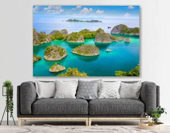 Picturesque tropical lagoon of  islands with reef coastline  and turquoise water