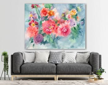 Watercolor floral background. Bunch of bright pink flowers.