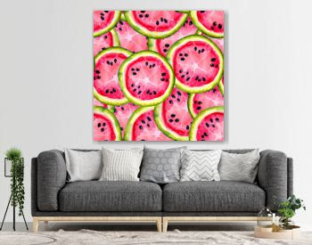 Watercolor seamless pattern with the image of a watermelon. Juicy pulp and seeds for print design, banner, poster, cover, invitations, greetings, weddings, advertisements