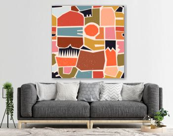 Hand drawn various shapes, spots, dots and lines. Different pastel colors. Abstract contemporary seamless pattern. Modern patchwork illustration in vector. Perfect for textile prints