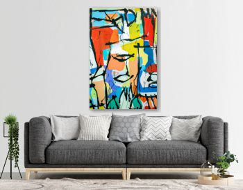 Paint on Canvas: Abstract Art with Yellow, Blue and White Hues - Background