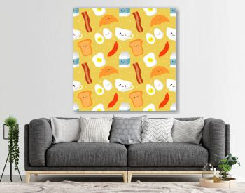 seamless pattern funny breakfast food and drinks characters kawaii style isolated on cream background. illustration vector.
