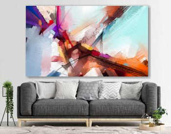 Abstract colorful oil painting on canvas texture. Hand drawn brush stroke, oil color paintings background. Modern art oil paintings with yellow, red color. Abstract contemporary art for background