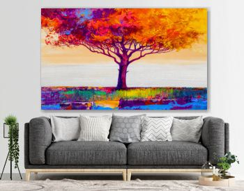 Oil painting landscape. Colorful autumn tree. Abstract style.
