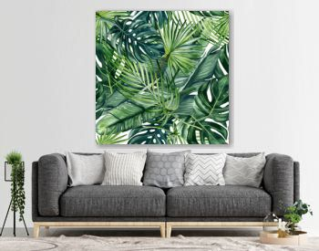 Watercolor hand painted seamless pattern with green tropical leaves of monstera, banana tree and palm on white  background.