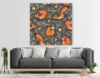 Little cute squirrels in the fall forest. Seamless autumn pattern for gift wrapping, wallpaper, childrens room or clothing.