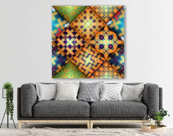 Vector abstract seamless patchwork pattern. Arabic tile texture with geometric and floral ornaments, stylized flowers, dots and lace. Vintage vector card.