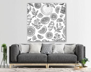 Various citrus seamless pattern. Engraved style. Vector illustration