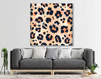 Leopard pattern design funny drawing seamless pattern. Lettering poster textile graphic design wallpaper, wrapping paper.