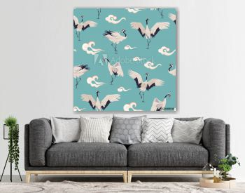 Seamless pattern with Japanese cranes and clouds