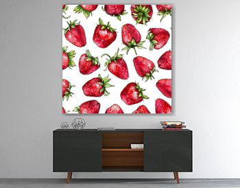 Seamless pattern of watercolor strawberries.