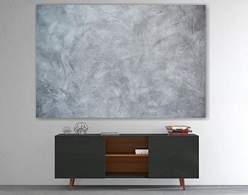 Texturized grey putty. Vintage or grungy background of venetian stucco texture as pattern wall.