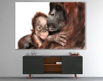 watercolor drawing - animals - orangutan with baby, sketch