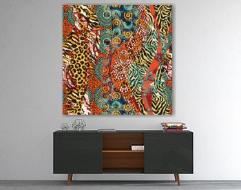 African traditional fabric and wild animal skins patchwork wallpaper abstract vector seamless pattern