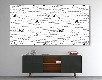 Shark dolphin Seamless pattern vector whale Sea Ocean doodle isolated wallpaper background White
