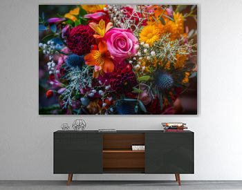 Beautiful, vivid, colorful mixed flower bouquet still life detail