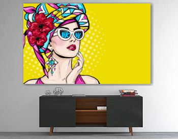 Pop Art woman with wow face in glasses holding hand near her cheeks. Advertising poster of sale or discount with sexy club girl.