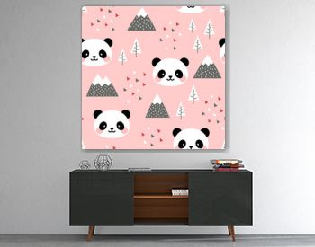 Panda Seamless Pattern Background, Scandinavian Happy cute panda in the forest between mountain tree and cloud, Cartoon Panda Bears Vector illustration for kids nordic background with triangle dots