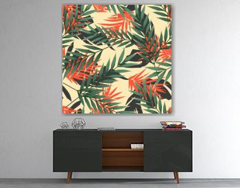 Bright tropical seamless pattern with jungle plants. Exotic background with tropical leaves. Vector