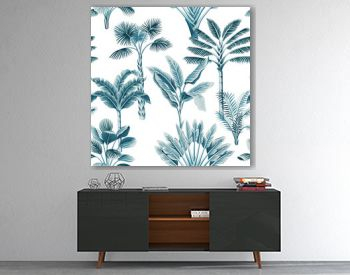 Tropical vintage blue palm trees, banana tree floral seamless pattern white background. Exotic jungle wallpaper.