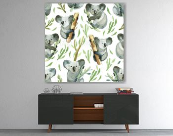 Seamless pattern of watercolor koala is holding the bamboo branch