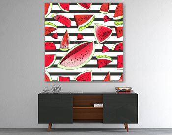 Vector seamles pattern of watermelon slices isolated on black strips backgdround. Vibrant red and green summer watermelon parts. Hand drawn.