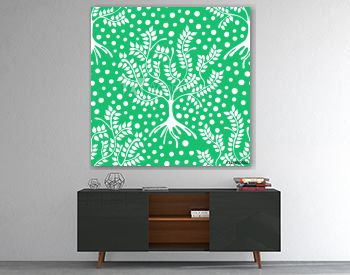 Seamless pattern, vector hand drawn repeating illustration, decorative ornamental stylized endless trees.  Green abstract seamles graphic illustration. Artistic line drawing silhouette.