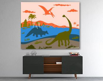 dinosaurs and pterosaurus in 3 elements