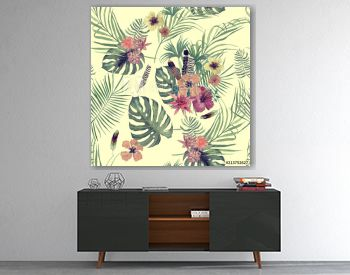 Seamles hand drawn watercolor pattern with leaves, feathers , flowers.