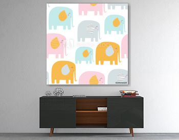 Seamless pattern with cute pastel elephants. Vector hand drawn illustration.