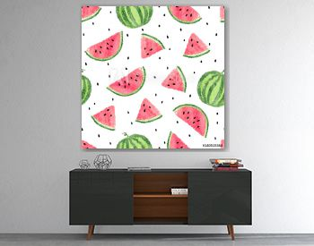 Watercolor watermelons pattern. Seamless vector background.