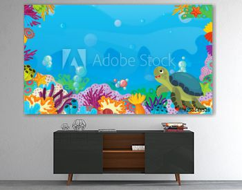 cartoon scene with coral reef with happy and cute fish swimming with frame space text turtle - illustration for children