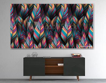 Bright, colorful seamless feather pattern for textile and wrapping