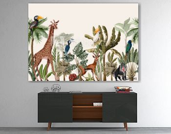 Seamless border with tropical tree such as palm, banana and jungle animals. Vector.