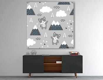 Cat Seamless Pattern Background, Scandinavian Happy cute kitty in the forest between mountain tree and cloud, cartoon kitten vector illustration for kids nordic background with triangle dots