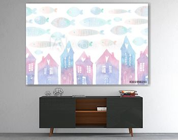 Seamless pattern with hand painted houses and flying fishes in the sky. Colorful watercolor illustration isolated on white background.