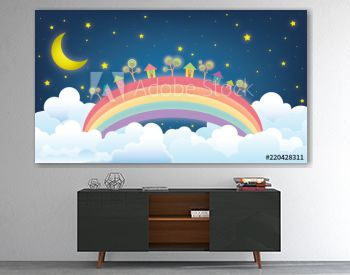 Illustration of moon and starry sky above the small village on the rainbow