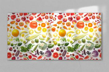 Food texture. Seamless pattern of various fresh vegetables and fruits isolated on white background, top view, flat lay. Composition of food.