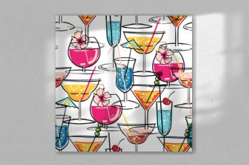 Hand drawn summer cocktail seamless pattern with hibiscus flowers. Vector illustration for fashion fabric and all print