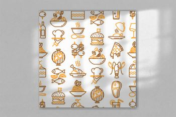 Restaurant menu seamless pattern with thin line icons: starters, chef dish, BBQ, soup, beef, steak, beverage, fish, salad, pizza, wine, seafood, burger. Modern vector illustration.