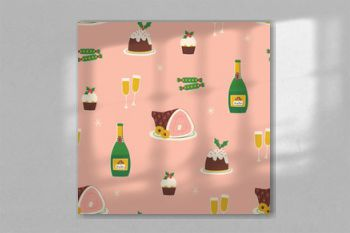 Christmas and New Year seamless pattern with various of festive food and drinks. Vector illustration in retro style.