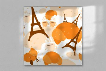french seamless pattern pastries croissant eiffel tower coffee simple vector