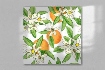 Seamless pattern of isolated hand drawn oranges and flowers in s