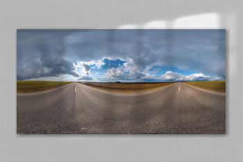 full seamless spherical hdri panorama 360 degrees angle view on asphalt road among fields in nasty day with overcast sky in equirectangular projection, ready for VR AR virtual reality