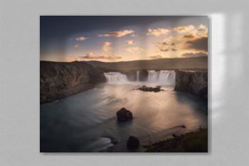 Godafoss (Goðafoss) waterfall in Northeast Iceland. Beautiful nature icelandic landscape at sunset