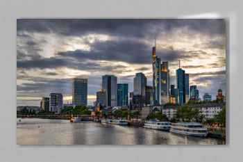Skyline of Frankfurt am Main in Germany at sunset